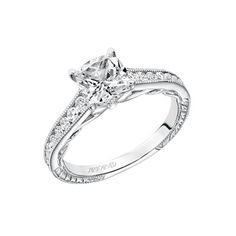 Artcarved Bridal: TILDA, #31-V622, vintage inspired cushion cut diamond engagement ring with channel set diamonds with hand engraving, milgrain &  scroll gallery #ArtCarvedBridal