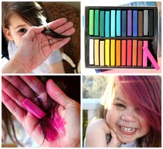 Dyeing hair with chalk pastels: wet hair, color, heat set with flat iron (carefully to avoid steam burns).