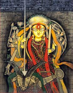 'Maa Durga' - Manoj Mitra - Mixed - x Durga Ji, Durga Painting, Indian Art Paintings, Indian Artwork, Animated Love Images, Spirited Art, Lord Krishna Images, Traditional Paintings, Sacred Art