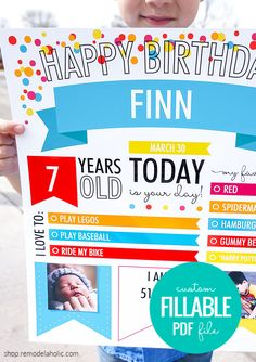Custom Editable Infographic Birthday Poster Printable via shop.remodelaholic.com #birthday #birthdayposter Square Photo Prints, Photo Print Sizes, Birthday Pictures, Baby Pictures, School Signs, Square Photos, Letter Size, Baby Month By Month, Sign Design