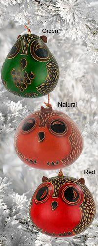 Owl Gourd Ornament! Love them ;)
