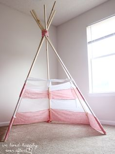 Step by step: how to make a teepee for under $30. Cheap DIY for a kids bedroom! Love it!