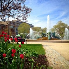 Logan Square, Philadelphia, Pennsylvania — by Very Hungry Traveller. Enjoying spring colors at the fountain in Logan Square in Philadelphia. Philly is so lucky to have great parks, well...