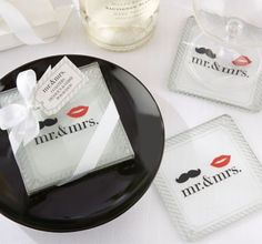 Mr. & Mrs. Glass Coasters 2ct - Party City