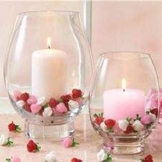 Valentine Candles and Roses. Could work for mother/daughter banquet center pieces as well.