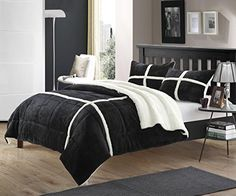 Perfect Home 7 Piece Cindy Sherpa Bed in Bag Comforter Set with White Sheet Set Queen Black * See this great product.