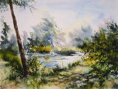 Aquarelle 23 x 31 cm Le long de l'étang