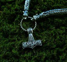 Thor's Hammer Mjolnir Pendant Viking Jewelry Scandinavian Norse Sterling Silver…