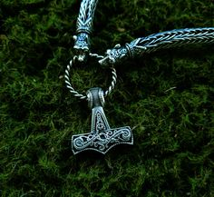 Thor's Hammer Mjolnir Pendant Viking Jewelry Scandinavian Norse Sterling Silver…