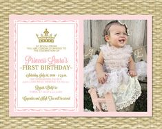 Royal First Birthday Invitation 2b - Royal Baby Girl Shower - Printable, Her Royal Majesty - ANY COLOR SCHEME - Any Event - Photo