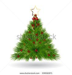 pine christmas tree - stock vector