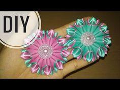 DIY || Cara Membuat Bros Bunga || Kanzashi Flower 17  - YouTube