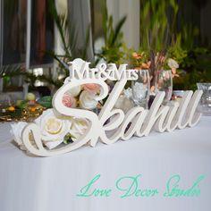 """Custom white letter Mr and Mrs LAST NAME Wedding  Wedding Sign Mr & Mrs Last Name Table Sign Wedding Decor 6"""" tall"""