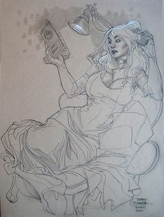 Terry Dodson: Coraline (Songes) reading Jules Verne, Seattle 2011 Comic Art