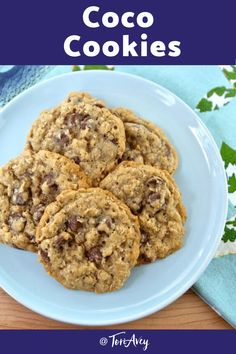 Coco Cookies - These soft, sweet, perfect chocolate chip cookies, also known as Cowboy Cookies, are a delicious treat!  Teach the kids to bake with this easy kosher recipe. | ToriAvey.com #dessert #cookies #sweettooth #cowboycookies #chocolatechipcookies #familyrecipe #easyrecipe  #oatmealcookies
