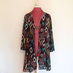 Santa Fe Print Shaw/Kimono In perfect condition. So cute and perfect for layering. Full length sleeves. Sheer. Necklace is also available in my closet. High quality & fun! Please use the offer button. No trades. Boutique Sweaters Shrugs & Ponchos
