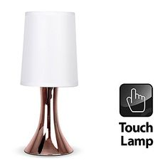 Modern Copper Effect Trumpet Touch Table Lamp With White ...…