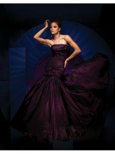 Taffeta Mermaid Strapless Rouched Bodice Prom Dress