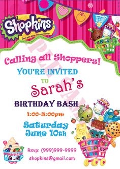 Shopkins Birthday Invitation Chalkboard Personalized D1