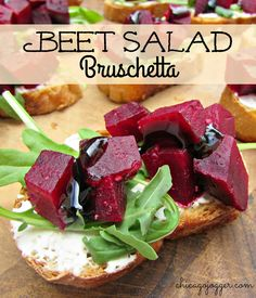 Beet Salad Bruschetta - an easy lunch or appetizer recipe with goat cheese…
