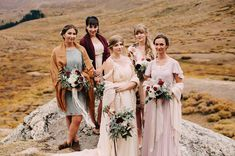 Fall bridesmaids mix and match in burgundy, orange, and blush in Colorado wedding Bohemian Bridesmaid, Bridesmaid Outfit, Bridesmaid Inspiration, Wedding Inspiration, Wedding Colors, Wedding Styles, Autumn Wedding, Green Wedding, Wedding Events