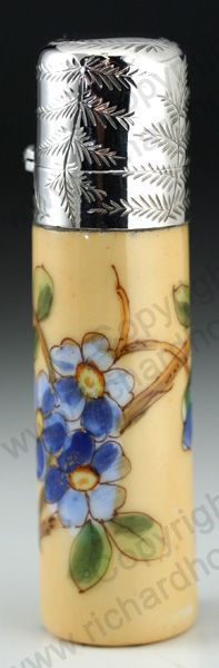 ANTIQUE & VINTAGE SCENT PERFUME BOTTLES. English enamelled porcelain cylinder, sterling silver top, mid to later 19th century. This item is sold, to visit my website to see what's in stock click here: http://www.richardhoppe.co.uk or for help or information email us here: info@richardhoppe.co.uk