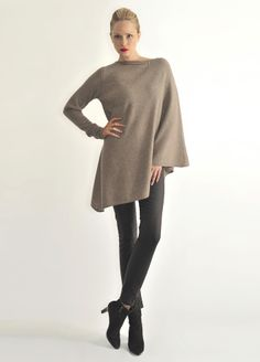 One sleeve poncho in 'biscuit' by Semon Cashmere. Founder Semka learned her trade from rural goatherders in Mongolia!