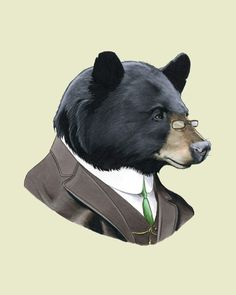 Black Bear Gentleman Woodland Art print for by berkleyillustration
