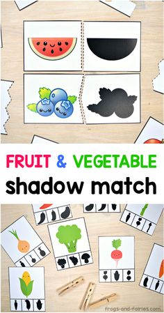 This fun Shadow Matching PACK includes a lot of different puzzles and clip cards with cute and colorful fruits and vegetables! It's a great activity for kids to practice visual discrimination skills! Preschool Food, Toddler Preschool, Toddler Activities, Preschool Activities, Vegetable Crafts, Nutrition Activities, Nutrition Education, Nutrition Classes, Nutrition Guide