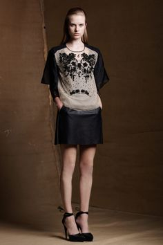 Jet Bead Organza Top/ Long Sleeve Lace Undershirt/ Leather Skirt