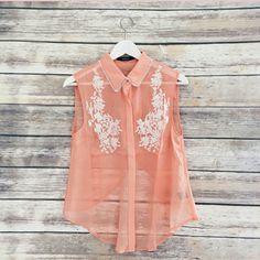 Split Back Sleeveless Blouse Salmon colored embroidered split back blouse. Boutique Tops Tank Tops