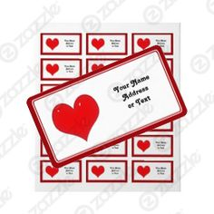 Add Your Text to this Shiny Red Heart Address Label Sticker #gravityx9 #zazzle -