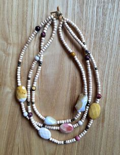 Multi-strand Moukite wood and czech  crystal by heartsofROMA