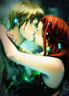 Jace and Clary from The Mortal Instruments series by Cassandra Clare. This is my favorite piece of fan art. :) #fanart #TMI #Jace #Clary