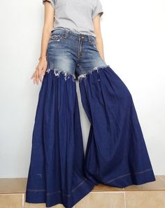 #Rockandroll #bellbottom #trouser #widelegs #denim #cotton #jeans #womentrouser #pants #ruffle #longpant #hippie #boho #bohemain #summerRock and Roll Style Frayed Distressed Jeans,Unique Bell Bottom Medium weight Denim Cotton in Dark Blue  (Jeans-R016). by Brightfashion on Etsy