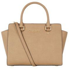 MICHAEL Michael Kors Small Selma Satchel ($415) ❤ liked on Polyvore featuring bags, handbags, satchel purse, beige bag, satchel style purse, saffiano leather handbags and michael michael kors