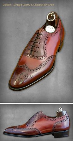 low priced 69aed d07d5 Walkton - Vintage Cherry   Chestnut Pin Grain Zapatos Caballero, Calzado  Hombre, Moda Masculina