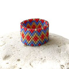 Beaded ring  beadwork jewelry  peyote ring  by Anabel27shop