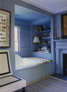 bed nook, window seat, new england style, Steven Gambrel - World of Interiors