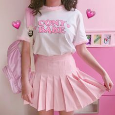 "Pink/white A line pleated skirt SE10018 Coupon code ""cutekawaii"" for 10% off"