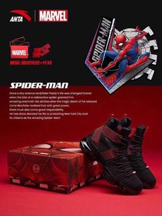 Anta Unveils Marvel Inspired Shoes Featuring Cap, Iron Man, Spider-Man and More. - The Fanboy SEO Marvel Shoes, Shoe Image, Great Power, Artificial Leather, Iron Man, Black Shoes, Casual Shoes, Spiderman, Running Sneakers