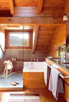 57 Ideas for house ideas interior rustic bathrooms decor A Frame Cabin, A Frame House, Rustic Bathroom Decor, Rustic Bathrooms, Bathrooms Decor, Bathroom Ideas, Cottage Interiors, Rustic Interiors, Decoration Inspiration