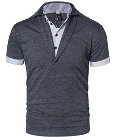 Men's Performance Solid Fake Two Polo Shirt - Deep Grey - Clothing, Shirts, Polos Polo Shirts With Pockets, Short Sleeve Polo Shirts, Men Shirts, Mens Clothing Sale, Men's Clothing, Mens Back, Short Sleeves, Mens Fashion, Mens Tops