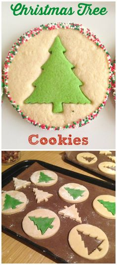 christmas treats I love these simple Christmas Tree Cookies - so great for baking with kids this Christmas! Sugar cut-out cookies take on a whole new life with these inventive cookies made with a simple and delicious vanilla sugar cookie dough. Christmas Tree Cookies, Christmas Snacks, Xmas Food, Christmas Cooking, Noel Christmas, Holiday Cookies, Holiday Baking, Christmas Desserts, Holiday Treats