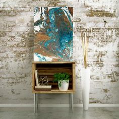 """Abstract art, Home Decor,Acrylic Pour, 12×16 Wrapped canvas, Painting: """"Canyon"""" in Turquoise, Copper, White"""