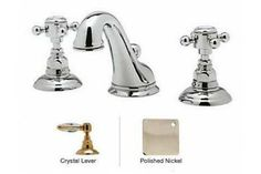 Rohl A1408LCAPC-2 Crystal-Lever Viaggio C-Spout Widespread Lavatory Faucet