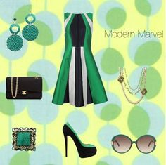The perfect outfit for that day of shopping followed by happy hour. This color blocking dress, matching pumps, modern sunglasses and Chanel bag are perfect when paired with AKD earrings, layered necklaces and limited edition ring. All jewelry available at www.annekoplik.com.