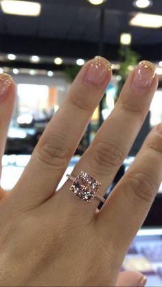 Etsy 14 Karat Rose Gold Diamond Cushion Cut Shape Morganite Under Halo Wedding Ring Engagement Ring#ad #Halorings
