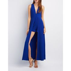 Charlotte Russe V-Neck Layered Maxi Romper ($35) ❤ liked on Polyvore featuring jumpsuits, rompers, cobalt, v neck romper, sleeveless rompers, sleeveless romper, high waisted romper and charlotte russe rompers