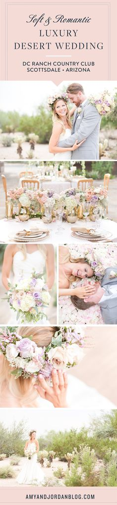 Soft and romantic, luxury desert wedding at DC Ranch Country Club in Scottsdale, Arizona.  Lavender and blush pink roses, with white hydrangeas. Floral wreath for the bride. Light grey suit for the groom. Gold accents and neutral accents.